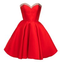 Wholesale 12 Stones T Shirts - 2018 New Simple Elegant Red Royal Blue Homecoming dress for Teens sweetheart with stones A Line satin