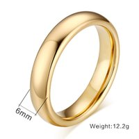 Banda de casamento Meaeguet Fashion 100% Pure Tungsten Carbide Rings 6MM Wide Gold-Color Wedding Bands For Women Men Jewelry