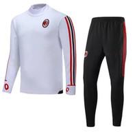 Wholesale Sweater Pant Sets - Top Quality 2017 2018 AC Milan Soccer training suit sweat shirt pants survetement 17 18 AC Milan Sweater Tracksuit Set Soccer Training Suit