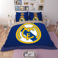 Wholesale Plaid Comforter Full - Bedding Set Football Team Pattern Queen Size Home Textiles Duvet Covers Bed Linen Pillow Cases Wholesale Twin Full Queen King Size 3pcs