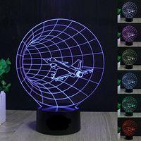 ingrosso lampada da tavolo 12v-Time Machine 3D LED Night Light 7 colori Touch Switich Table Desk Regali per i bambini