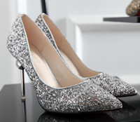 Wholesale gold ballet shoes - Women wedding Bling Sequined high-heeled Shoes Fashion Glitter Gorgeous Party High Heel Pumps shoes gold silver red Christmas gift 9.5cm