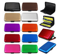 Wholesale Wholesale Acrylic Business Card Holders - 14 colors Aluminum Business ID Credit Card Wallet Waterproof RFID Card Holder Pocket Case Box Free shipping TA181