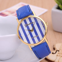Wholesale Geneva Watches For Women Prices - Cheaper Price New Geneva Watches Stripe face golden cases watch For Ladies Women Gilrs Fashion Leather Geneva Watch Dress Quartz Watches