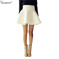 Wholesale Thick Tutu - TANGNEST Plus Size Puffy Skirt Women 2017 Solid Vintage Thick Tutu Skirts High Waist Flared Mini Skater Ball Short Skirt WQB314