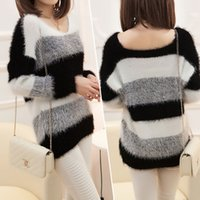 Wholesale Maternity Knit Tops - Wholesale-Women's Fashion Striped Pullover Crochet Sweater Casual Plus Size Tops Knitted Jumper For Handsome Maternity Sweaters