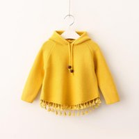 chandails coréens bébé achat en gros de-Girls Knit Tassel Pullover 2017 Baby Girls Sweat à capuche en tricot Kids Girls Autumn Korean Clothes Vêtements pour enfants