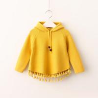 Wholesale Children Girl Hooded Sweater - Girls Knit Tassel Pullover 2017 Baby Girls Hooded Knitted Sweater Kids Girls Autumn Korean Clothes Children clothing