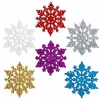 Wholesale Plastic Blue Snowflake Ornament - 10cm Colorful Christmas snowflake Tree Decorations Snowflakes 12pcs  bag Plastic Artificial Snow Christmas Decorations for Home Navidad