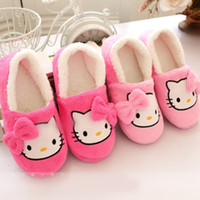 Wholesale Girls Home Shoes - Women Girls House Slippers Hello Kitty Plush Warm Home Slippers Hot Selling Thermal Indoor Slipper for Autumn Winter Soft Sole Shoes
