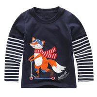 Wholesale Preppy Clothes For Boys - Baby Boys T shirt Children Clothing 2017 Brand Clothes Boys Long Sleeve Tops Animal Appliques Kids T-shirts for Boy Sweatshirt
