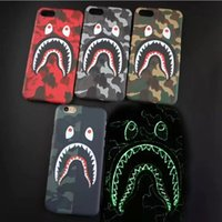 Wholesale Iphone Glow Cover - Camouflage Ape Man Shark Case For iphone 7 Plus Hard Back Phone Cases Luminous Glow Cover For iphone 6 6S Plus Coque Fanda