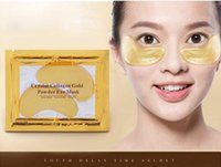 Wholesale 24k Eye Mask - 24k Gold Eye Collagen Aging Wrinkle Under Crystal Gel Patch Anti Mask + Free Shipping + Free Gift