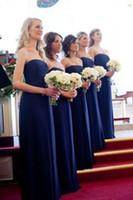 lindos vestidos da marinha venda por atacado-Linda Strapless Chiffon Longo Da Dama De Honra Vestidos de Plissado Azul Marinho Vestidos de Noite Vestidos Vestidos de Dama De Honra Vestido De La Dama De Honor