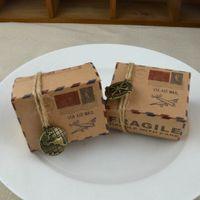 ingrosso dessert di carta case-Scatola di caramelle di carta Kraft Retro Via Air Mail Tema a tema caramelle Scatole da dessert Scatole da imballaggio regalo Souvenir di nozze 0 35wj R
