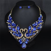 Wholesale Encrusted Necklace - 2016 new hot Jewel-encrusted swan necklaces earrings suit High-grade bride accessories