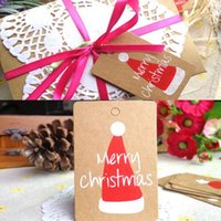Barato Chapéu De Papel Animal-Atacado-50PCs Merry Christmas Gift Cards Snowman floco de neve Hat Padrão Kraft Paper Marker Tag Wedding Party Favor Gift Tags Cartões