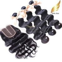 renk 32 saç örgüsü toptan satış-Vücut Dalga Dantel Kapatma Bakire Brezilyalı Virgin İnsan Saç Orta Kısmı Ile Kapatma Dantel Kapatma Saç Atkı Doğal Renk 8-30 Inç