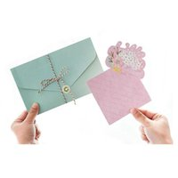 Wholesale Invitation Letter Party - Korean Style Birthday Party Invitation Cards Envelope Delicate Candy Color Bouquet Letter Paper Gift Decoration ZA3250