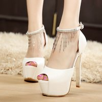 Wholesale Shoe Shallow Fish - Super 14 cm high heels and sexy chain fish mouth sandals nightclubs with shallow thin mouth white women's shoes summer 2017