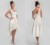 Wholesale Lace Tulle Girl Dress China - Short High Low Wedding Dresses for Girls 2017 Vestido De Noiva China Boho Sexy V neck Trip Shoot Lace Tea Length Merry Cheap Bridal Gowns