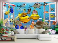 Wholesale paintings oceans resale online - 3d wallpaper custom photo mural Cartoon ocean submarine fish decoration painting d wall murals wallpaper for walls d living room
