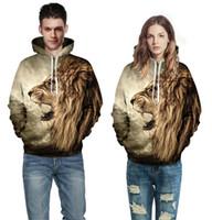 Wholesale Wholesale Street Wears - Winter Hoodies Punk Casual Sweatshirt Animals 3D Print Lion Head Tiger Leopard Hip Hop Pullover Men Women Coat Street wear Sweatshirt