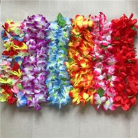 Wholesale Hawaii Lei - 100PCS Hawaiian Hula Lei Hawaii Beach Theme Luau Party Garland Necklace Flower Wreath Garland Summer Party Leis Party Decoration