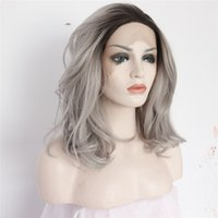 Wholesale wig silver grey short - Handmade Fashion Girls Short Bob Synthetic Ombre Grey Lace Front Wig Natural Wavy Women Grey Silver Heat Resistant Hair Wigs with babyhair