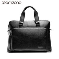"Wholesale Executive Bags - Wholesale- teemzone Document Zipper Laptop Genuine Leather Briefcase Business Man 14"" Laptop Portfolio Executive Briefcase Lawyer Bag T0823"