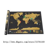 Wholesale Vintage Bedroom Decor - Black Vintage Scratch Map Deluxe Edition Personalised World Map Home Decor World Travel Wallpaper Wall Stickers