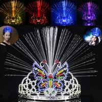 Wholesale fiber optic butterflies - LED Colorful Light Crown Masquerade Christmas Party Headgear Butterfly Crown Fiber-optic Headband Mardi Gras Gifts WX9-119