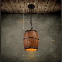 Wholesale Led Lighting For Shop - Retre Pendant Lights Lamp Shade, Industrial Vintage Wood Barrel Retro Pendant Lamp Light for Bar Shop Cafe Dining Room Decor