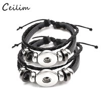 Novo Handmade Black Brown Multilayer Leather Bracelet Fit 18mm Metal Button Adjustable Knot Bracelet DIY Statement Jewelry Wholesaler 2017
