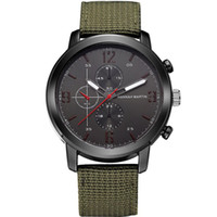 Wholesale Oversized Wrist Watches - 2017 Men Green Amy Military Leather Wrist Watches Nato Strap Sports Outdoor Camping Quartz Oversized Male Clock Brand Wristwatch Drop Shippi