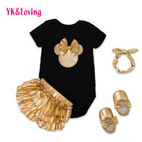 Wholesale 2017 Baby Girl Clothes Clothing Sets Black White Cotton Rompers Golden Ruffle Bloomers Shorts Shoes Headband for baby Newborn Jumpsuits
