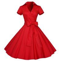 Wholesale Wholesale Swing Style Dresses - Wholesale- Hot Sales Summer Women 1950s Retro Audrey Hepburn Style V-Neck Swing Lapel Shirt Rockabilly Pinup Dress