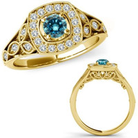 black halo designer - 0 Blue Diamond Halo Vintage Cocktail Designer Ring K Yellow Gold