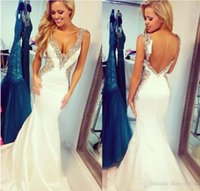 Wholesale Mermaid Celebrity Wedding Gown - .2017 Custom made Colorful Sequins V-neck Wedding Dresses Sheath Mermaid celebrity Exquisite Modest Women 2018 Satin Backless Bridal Gowns