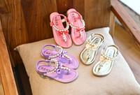 ingrosso sandali in rhinestone flip flops-Estate Calzature ragazze sandali estivi sandali per bambini Bambino strass principessa Dress delle ragazze dei pattini di cristallo Infradito