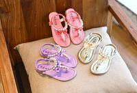 Wholesale girls dress shoes rhinestones - Summer Shoes Girls Sandals Summer Kids Sandals Child Rhinestone Princess Dress Shoes Girls Crystal Flip Flops