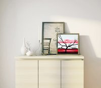 1 PCS Modern Wall Art Picture Red and White Abstract Tree Canvas Pintura Spray Print Decorações para sala de estar