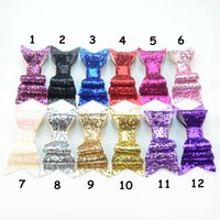 Wholesale Newborn Wholesale Feather Headbands - 12 Colors 4x1.60 inch Gliter Metallic Bows Feather Bows For Girls Kids Newborn Hair Accessories 60Pcs lot