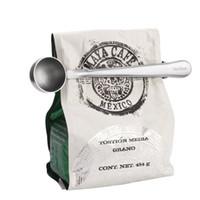 Wholesale Tea Measuring Scoop Spoon - Stainless steel Ground Coffee tea milk powder Measuring Scoop Spoon with Bag Sealing Clip Kitchen cooking backing tool DIY h126
