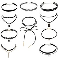 Wholesale Collar Necklace Cheap - Retro Gothic Simple Black Lace Choker Collar Torques Necklace for Women,variety of suits for opotional  cheap price