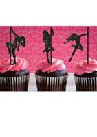 palitos de cupcake venda por atacado-Atacado- glitter Pole Dancing girl Silhueta Cupcake Toppers evento esportivo Party Picks baby shower aniversário de casamento palitos decoração