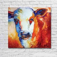 Wholesale Life Size Cows - Colorful Cow decorative,Pure Hand Painted Abstract Modern Wall Decor Cartoon Animal Art Oil Painting High Quality Canvas.Multi sizes C050