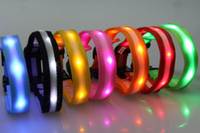 Wholesale Double Led Collar - 2.0cm Width Double Side Stripe Nylon LED Flash Dog Cat Collar Small Medium Dog Cat Collars DHL Shipping