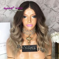 Wholesale Synthetic Two Tone Wigs - Two Tone Synthetic Black Ombre Dull blue Color Body Wave Wig Glueless middle-part None lace wig  Lace Front Wigs For Women