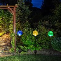 Wholesale Solar Landscape Lights Stainless Steel - Solar Powered Crackle Glass Ball Color Changing Stake Lights Stainless Steel Solar Garden Lawn Lights Patio Decorative Landscape Lamps